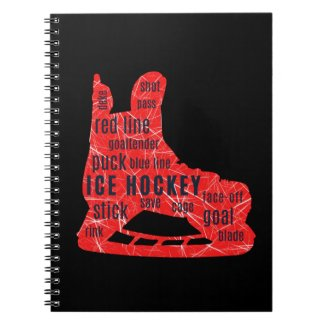 Ice Hockey Notebook (red skate with hockey words)