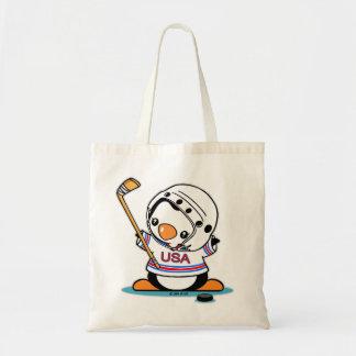 Ice Hockey Penguin Budget Tote Bag