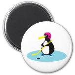 Ice Hockey Penguin Fridge Magnet
