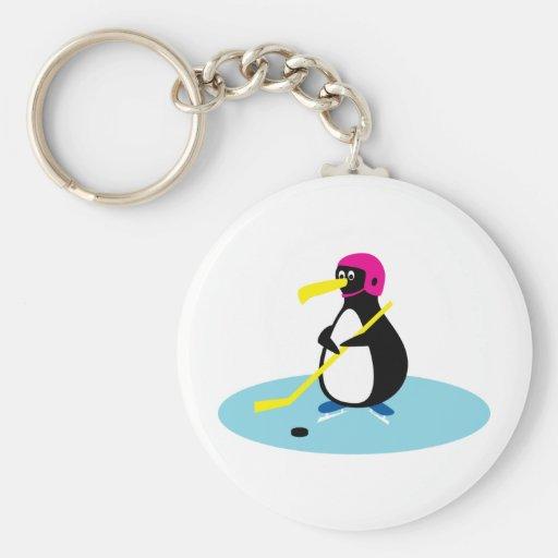 Ice Hockey Penguin Keychains