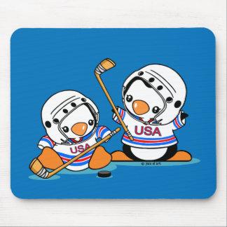 Ice Hockey Penguin Mouse Pad