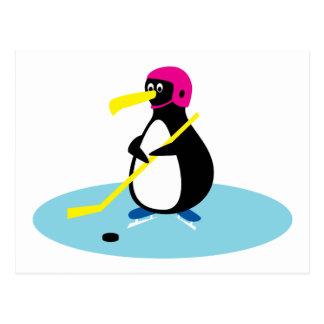 Ice Hockey Penguin Postcard