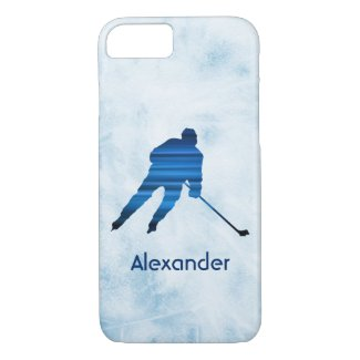 Ice Hockey phone case player name blue