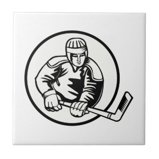 Ice Hockey Pictogram Ceramic Tile