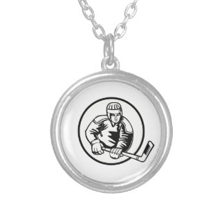 Ice Hockey Pictogram Silver Plated Necklace