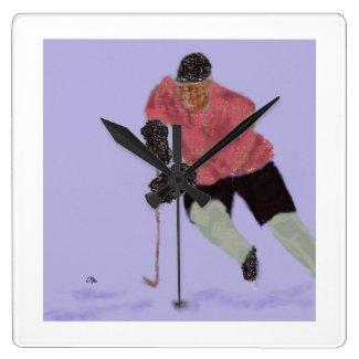 Ice Hockey Play Art Square Wall Clock