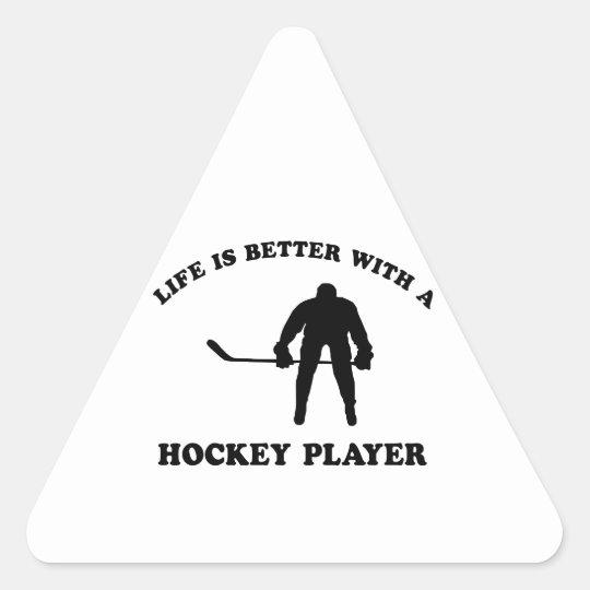 Ice Hockey Player Designs Triangle Sticker