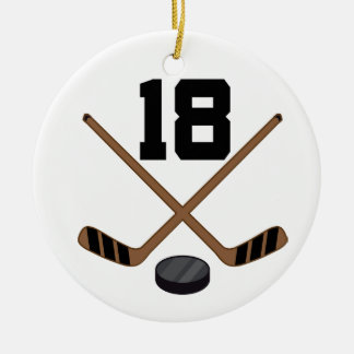 Ice Hockey Player Jersey Number 18 Ornament
