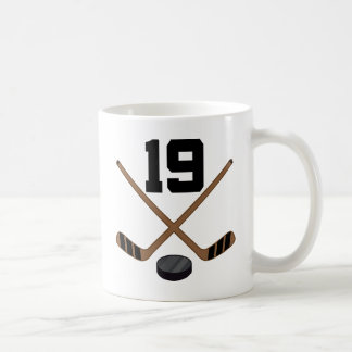 Ice Hockey Player Jersey Number 19 Gift Classic White Coffee Mug