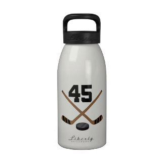 Ice Hockey Player Jersey Number 45 Water Bottle