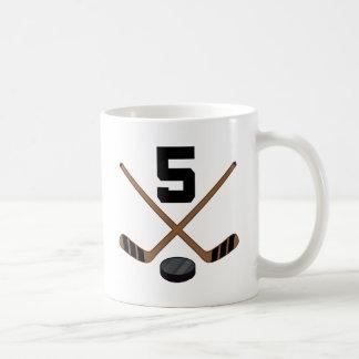Ice Hockey Player Jersey Number 5 Gift Coffee Mug