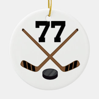 Ice Hockey Player Jersey Number 77 Ornament