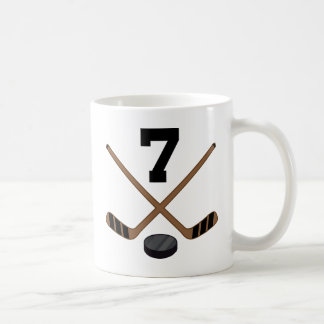 Ice Hockey Player Jersey Number 7 Gift Classic White Coffee Mug