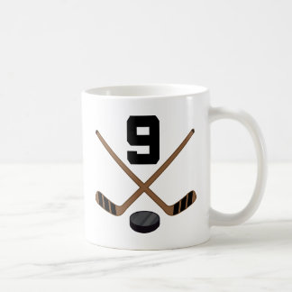 Ice Hockey Player Jersey Number 9 Gift Coffee Mug