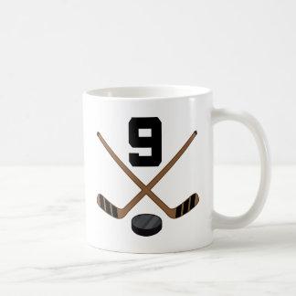 Ice Hockey Player Jersey Number 9 Gift Coffee Mug