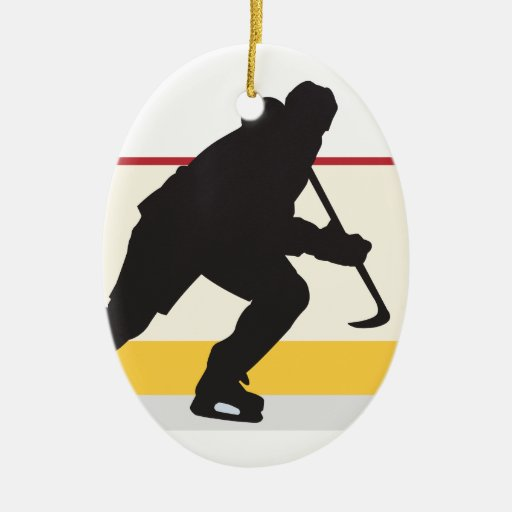 ice hockey player on the move Double-Sided oval ceramic christmas ornament