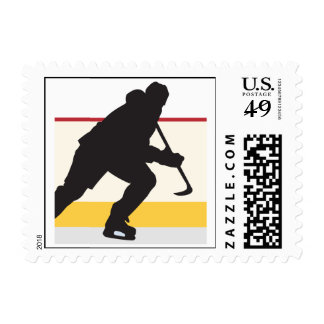 ice hockey player on the move stamp