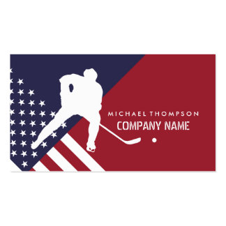 Ice Hockey Player On United States Flag Background Business Card