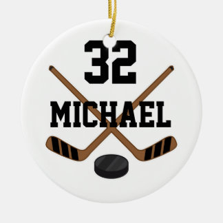 Ice Hockey Player Personalized Sports Ornament Gif