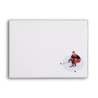 ice hockey player ready to strike envelope