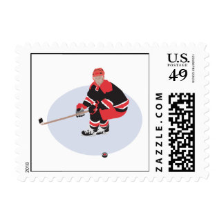 ice hockey player ready to strike postage