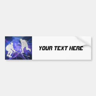 Ice Hockey Players Fighting for Puck Bumper Sticker