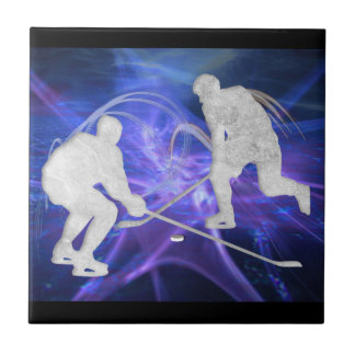 Ice Hockey Players Fighting for Puck Ceramic Tile