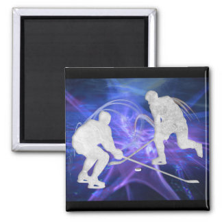 Ice Hockey Players Fighting for Puck Magnet