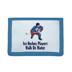 Ice Hockey Players Walk On Water Wallet - Blue at Zazzle