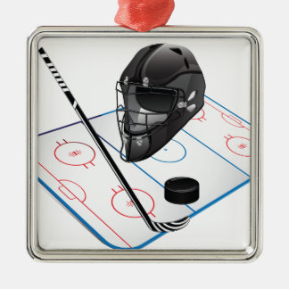 Ice Hockey Premium Square Ornaments