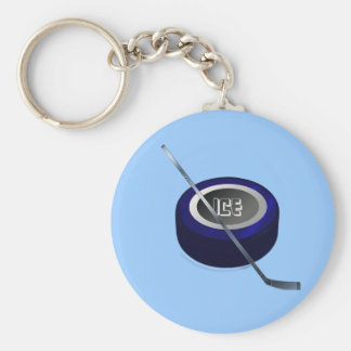 Ice hockey Puc and Stick Hockey lovers gift Key Chains