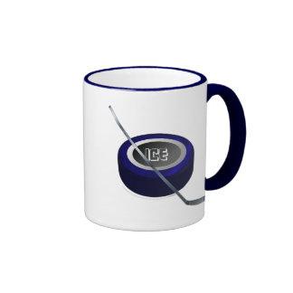 Ice hockey Puc and Stick Hockey lovers gift Ringer Coffee Mug