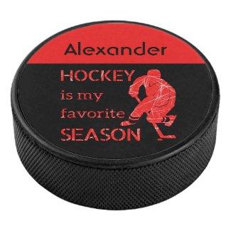 Ice Hockey puck favorite season red