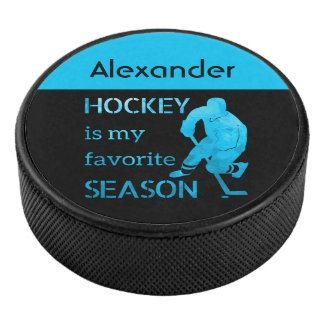 Ice Hockey puck favorite season turquoise blue ice