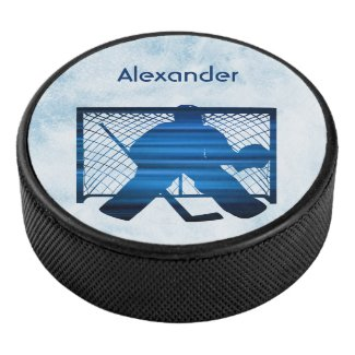 Ice hockey puck goalie silhouette blue