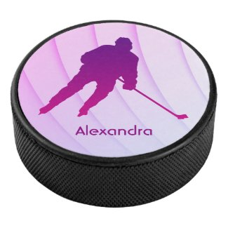 Ice Hockey puck player silhouette purple