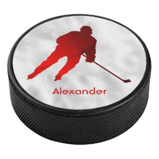 Ice Hockey puck player silhouette red