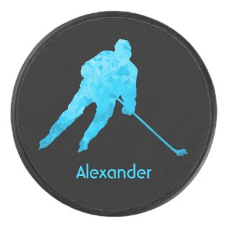 Ice Hockey puck player silhouette turquoise