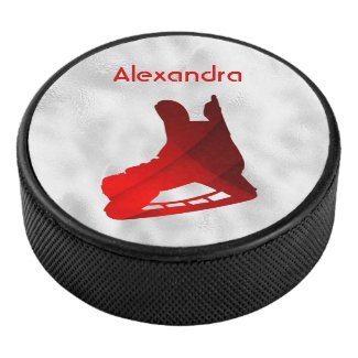 Ice Hockey puck skate red silver
