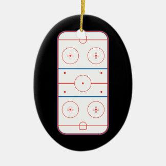 ice hockey rink graphic ceramic ornament