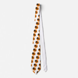 ice hockey silhouette orange circle design neck tie