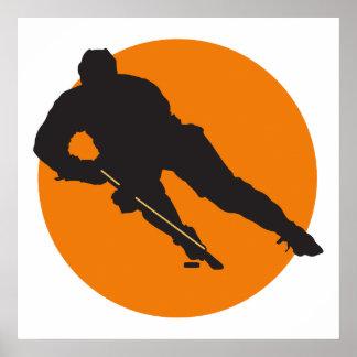 ice hockey silhouette orange circle design posters