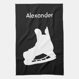Ice Hockey skate towel black white
