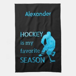 Ice hockey skate towel Favorite season blue ice