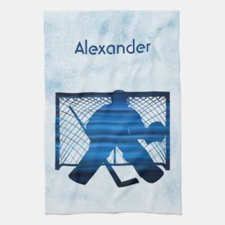 Ice hockey skate towel goalie blue