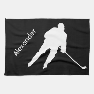 Ice Hockey skate towel player black white