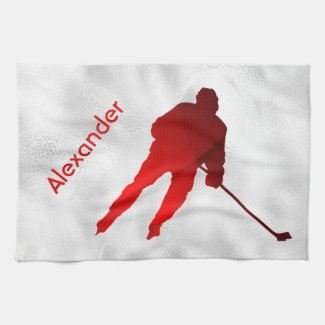 Ice Hockey skate towel player red