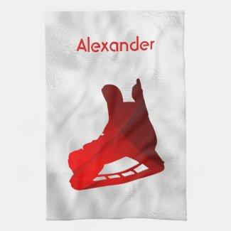 Ice Hockey skate towel red
