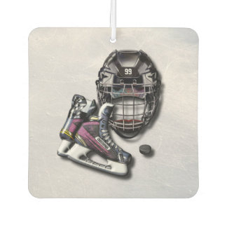 Ice Hockey Skates Helmet Puck With Name And Number Air Freshener