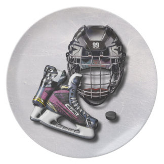 Ice Hockey Skates Helmet Puck With Name And Number Dinner Plate